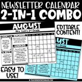 Monthly Newsletter Template Editable Calendar Duo