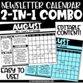 Monthly Newsletter Template Editable Calendar Duo | Newsle