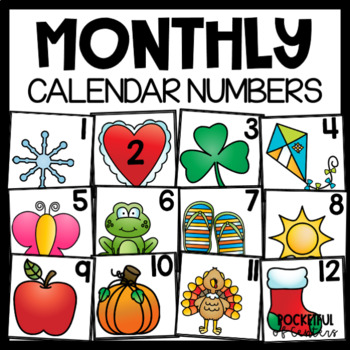 Monthly Calendar Numbers - Bundle