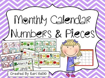 Monthly Calendar Numbers and Pieces {January-December}