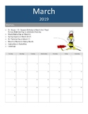 Monthly Calendar Organiser with special dates to remember