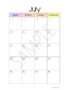 Monthly Calendar Pack 2017-2018 Two-Page Layout