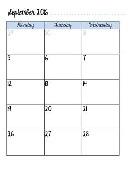 Monthly Calendar Planner - 2016-2017 School Year
