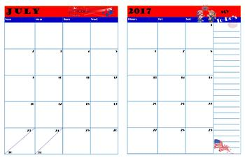 Monthly Calendar / Planner for 2017-2018 Academic Year