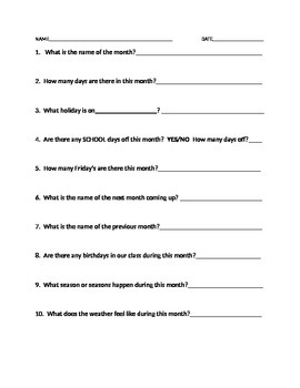 Monthly Calendar Question Worksheet-Fill in the blank