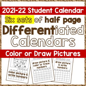 Calendar SY 2016-17 - 4 Sets of CYO Differentiated Student Calendars, PK-2, SPED