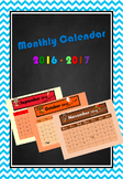 Monthly Calendar (September 2016-August 2017)