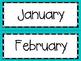 Monthly Calendar Set: Teal Designs