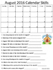 Monthly Calendar Skills 2016/17 School Year