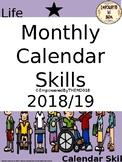 Monthly Calendar Skills 2018/19 School Year