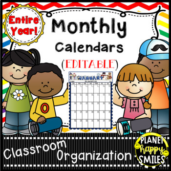 Monthly Calendar Templates for the Entire Year, EDITABLE