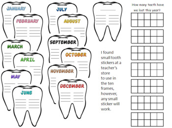 Monthly Calendar Tooth Charts and Yearly Ten Frame Sheet