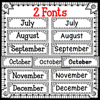 Monthly Calendar Topper Black and White