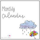 Monthly Calendar (Watercolor) - Morning Meeting - Growing bundle