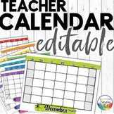 2019-2020 Calendar Printable Editable Watercolor