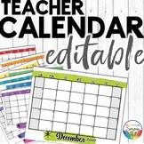Editable Calendar 2020-2021 Watercolor | Printable and Dig