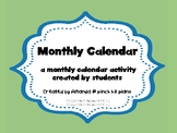 Monthly Calendar- a calendar activity