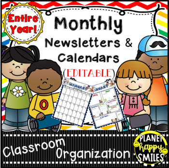 Monthly Calendar and Newsletter Templates for the Entire Year, EDITABLE