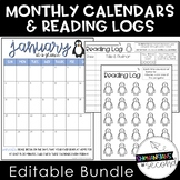 Editable Monthly Calendars and Reading Logs 2019-2020 Bundle