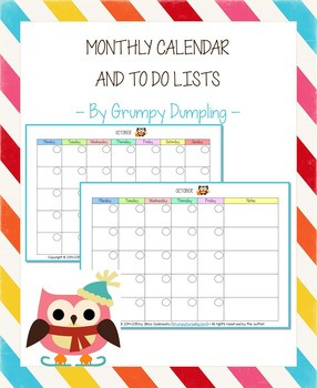 Monthly Calendar and To Do Lists