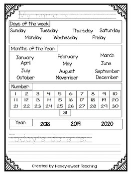 Monthly Calendar (class use)