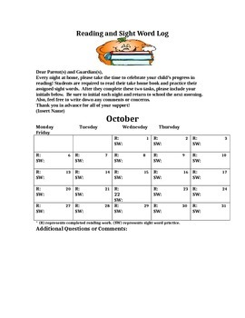 Monthly Calendar for Homework Assignments