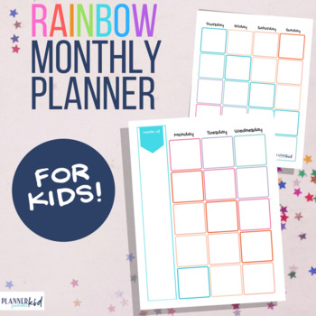 Monthly Calendar for Kids: Rainbow Theme Planner Printable