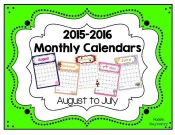 Monthly Calendars - 2015-2016 Academic School Year