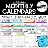 Monthly Calendars 2019-2020 *EDITABLE*