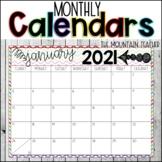 Monthly Calendars 2018-2019
