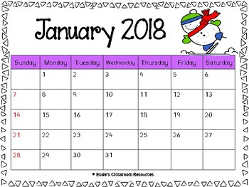 Monthly Calendars 2018 - Color