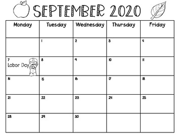 Monthly Calendars 2020-2021 by Joyfully Primary   TpT