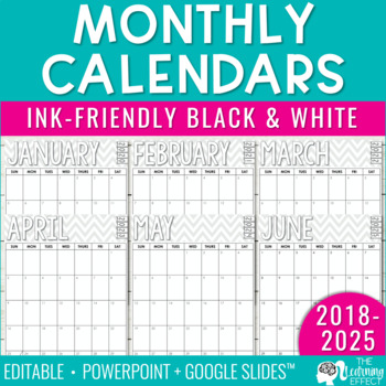 Free Monthly Printable Calendar 2020 Monthly Calendar   2019 2020 Through 2025 FREE Updates | Editable