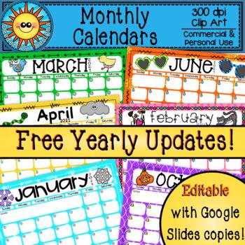 Monthly Calendars