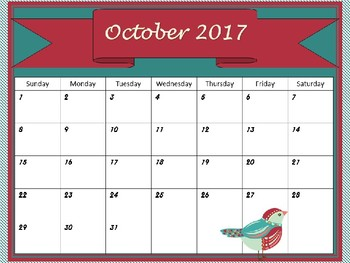 Monthly Calendars- Beautiful Birds monthly calendars 2017 2018 PDF