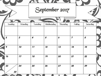 Monthly Calendars- Black and White Floral 2017 2018 PDF