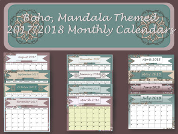Monthly Calendars- Boho with mandala monthly calendars 2017 2018 PDF