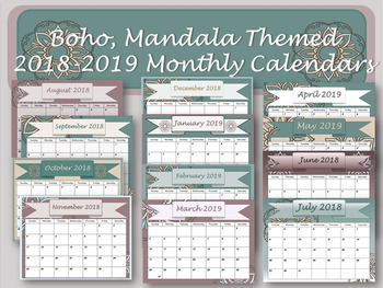 Monthly Calendars- Boho with mandala monthly calendars 2018 2019 PDF