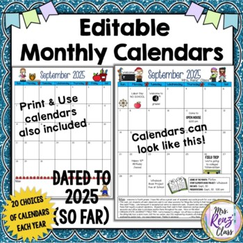 Monthly Calendars EDITABLE with LIFETIME* Updates dated to 2025