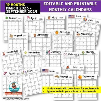 Editable Calendar 2019 - 2020   FREE Lifetime Updates