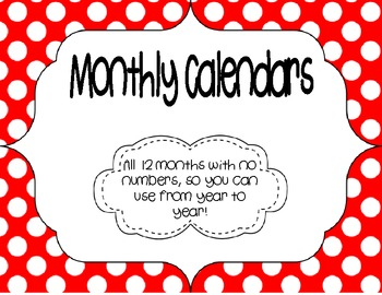Monthly Calendars {Freebie}