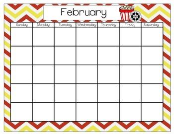 Monthly Calendars- Hollywood/Movie Theme