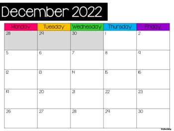 Monthly Calendars August 2018 to August 2019