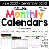 Monthly Calendars January 2019 to June 2020: Watercolor Edition