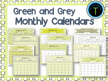 Monthly Calendars- Lime Green Grey 2017 2018 PDF