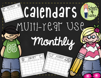 Monthly Calendars - Multi-year Use