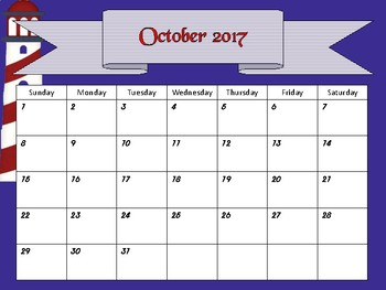 Monthly Calendars- Nautical Themed 2017 2018 PDF