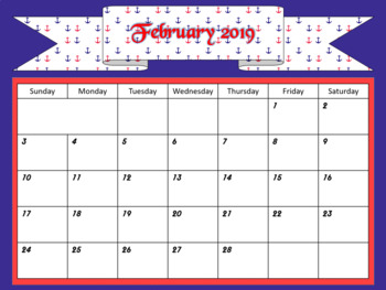 Monthly Calendars- Nautical Themed 2018-2019 PDF