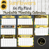 Monthly Calendars- Rustic Sunflower Themed 2019-2021 PDF