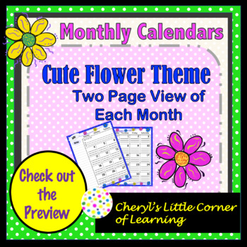 Monthly Calendars Two Page View 2018-2019